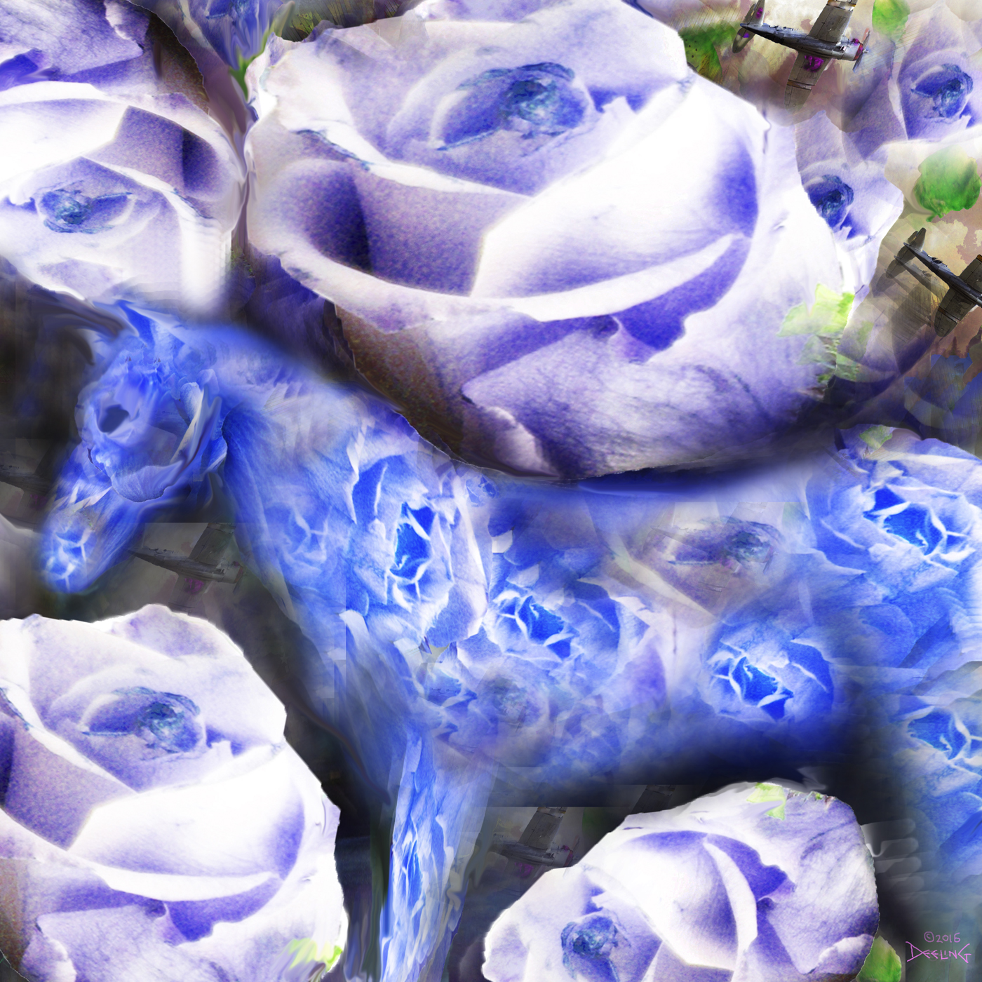 Blue Horse Blues with Roses 2016